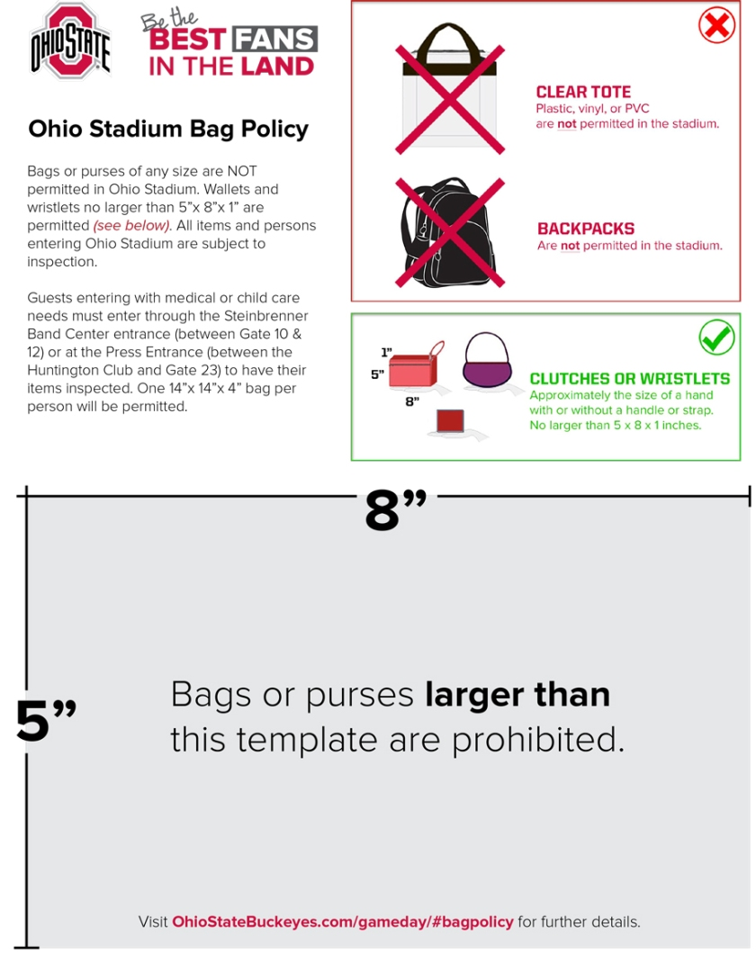 Ohio state bag policy